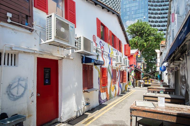 Haji Lane est dans le voisinage fascinant de Kampong de Singapour Les jeunes fréquentent les shophouses le long de cette ruelle p image stock