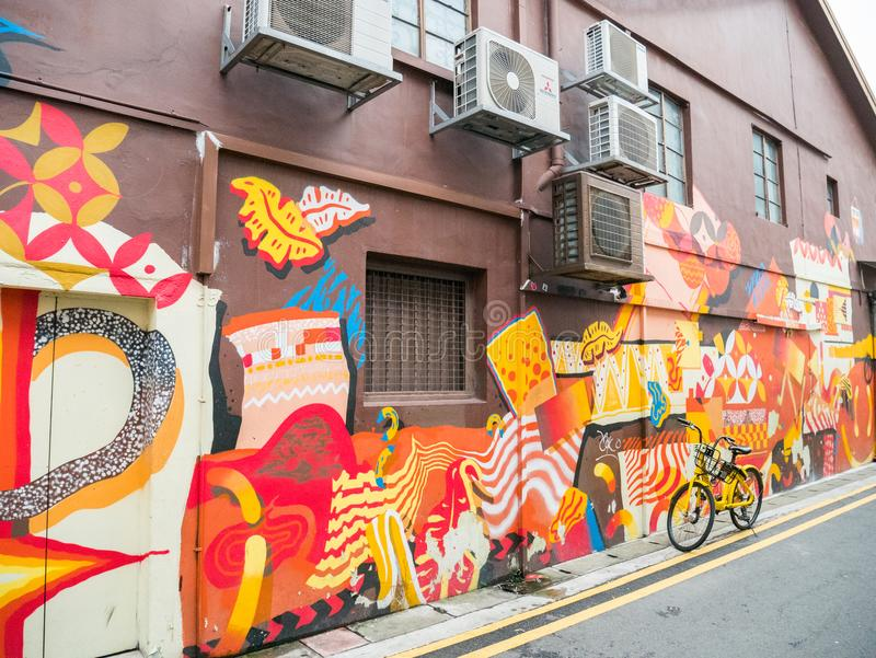 Haji Lane in Kampong Glam Popular with Colorful Street Art. Colorful Background and Wall Graffiti. Singapore - April 15 2018 royalty free stock photo