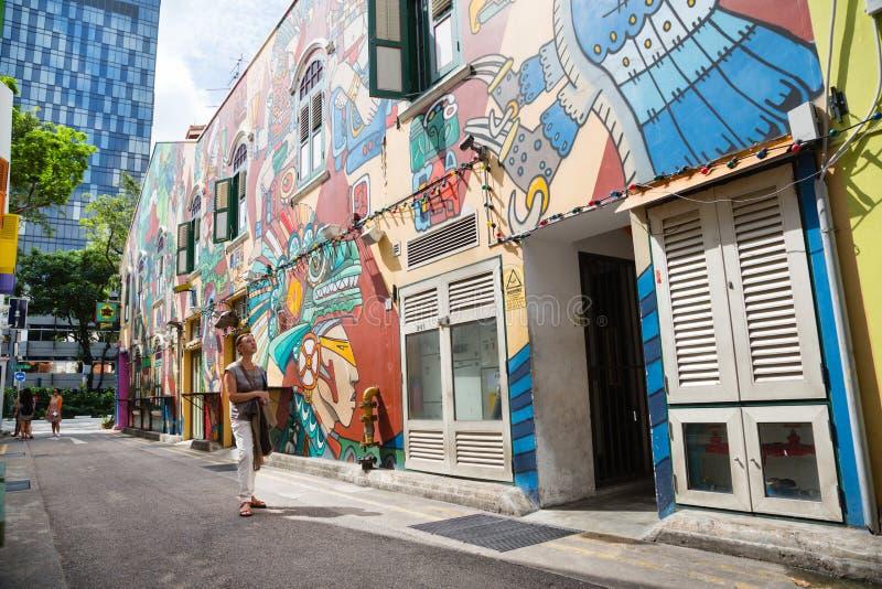 Haji Lane is Kampong Glam, Singapore stock foto's