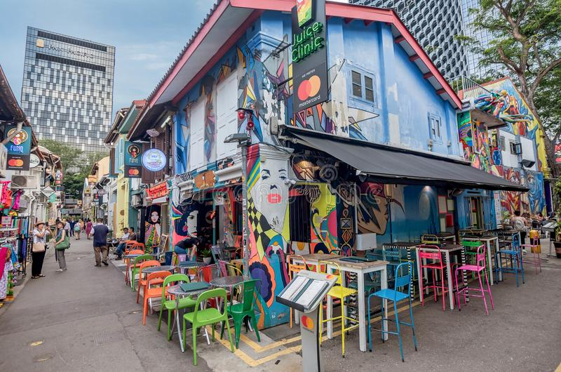 Haji Lane in Kampong Glam is Singapore Mekka van manierboutiqu royalty-vrije stock fotografie