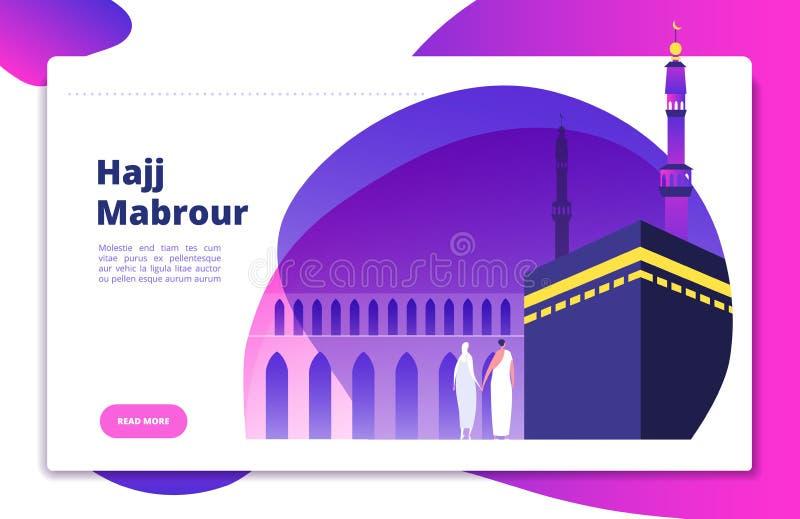Hajj concept. Umrah hajj pray saudi people praying mabrour muslims travel makkah haram modern flat vector website design royalty free illustration