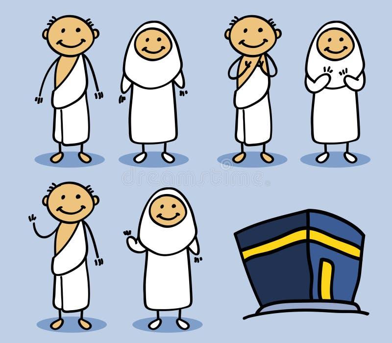 Hajj Pilgrimage Stick Character stock illustration