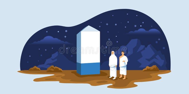 Hajjpelgrims op Top van Onderstel Arafat vector illustratie