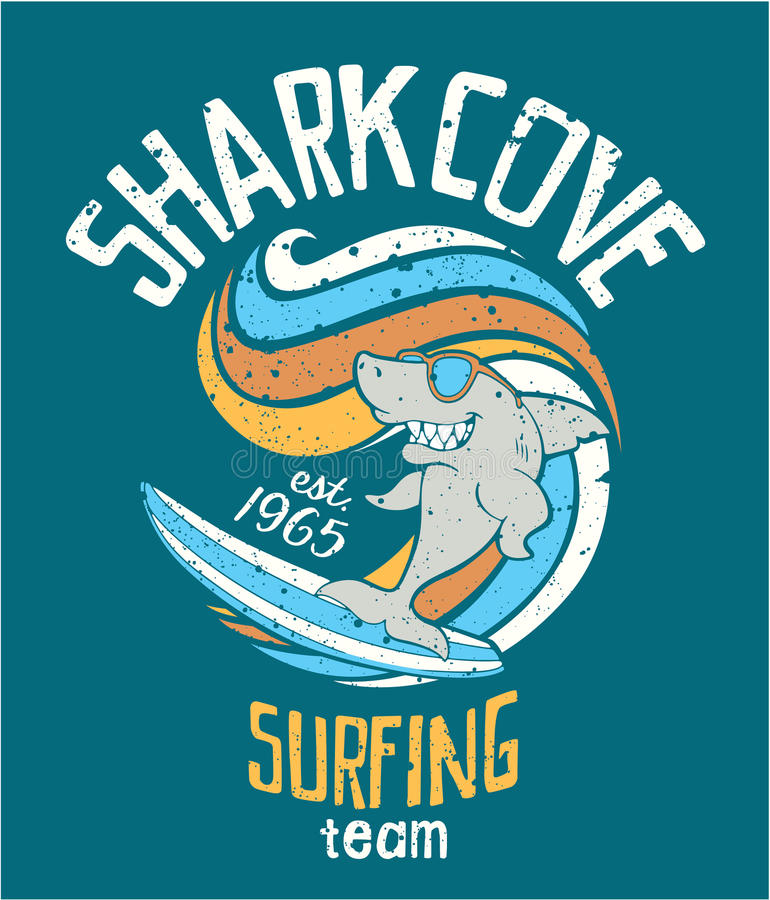 Hajliten vik som surfar laget royaltyfri illustrationer