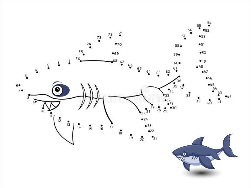 Hajtecknade filmen förbinder prickarna och färgar vektor illustrationer