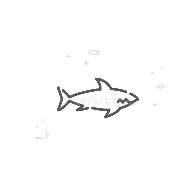 Hajvektorlinje symbol, symbol, Pictogram, tecken Ljus abstrakt geometrisk bakgrund Redigerbar slagl?ngd vektor illustrationer