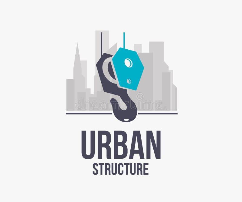 Haka kranen med stadsbyggnadslogoen, emblemvektorillustration royaltyfri illustrationer