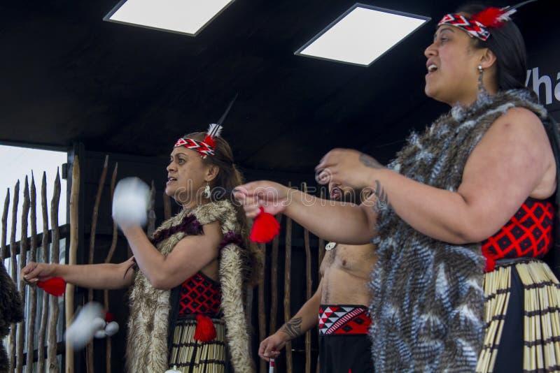 Haka maorí de la danza tradicional foto de archivo