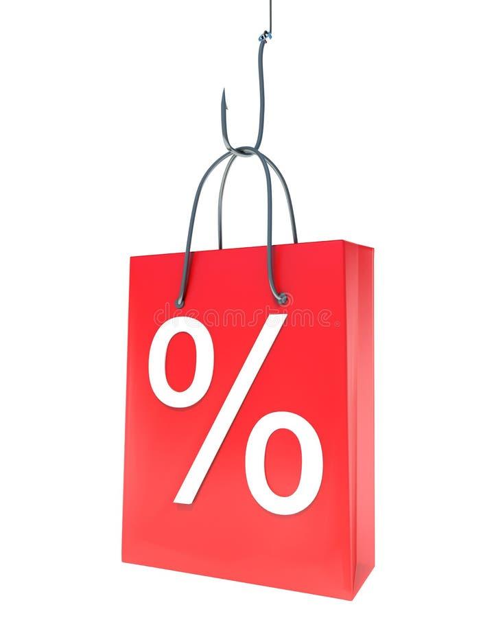 Hakat fynd för shoppingpåse locka köpare vektor illustrationer