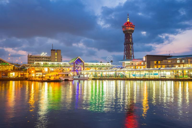 Hakata口岸在晚上在Hakata,福冈县,日本 图库摄影