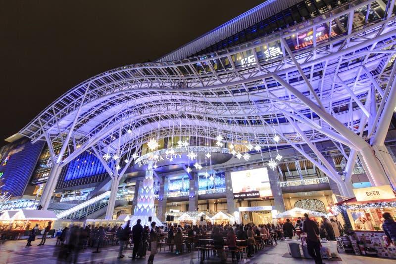 Hakata驻地冬天夜场面 库存图片