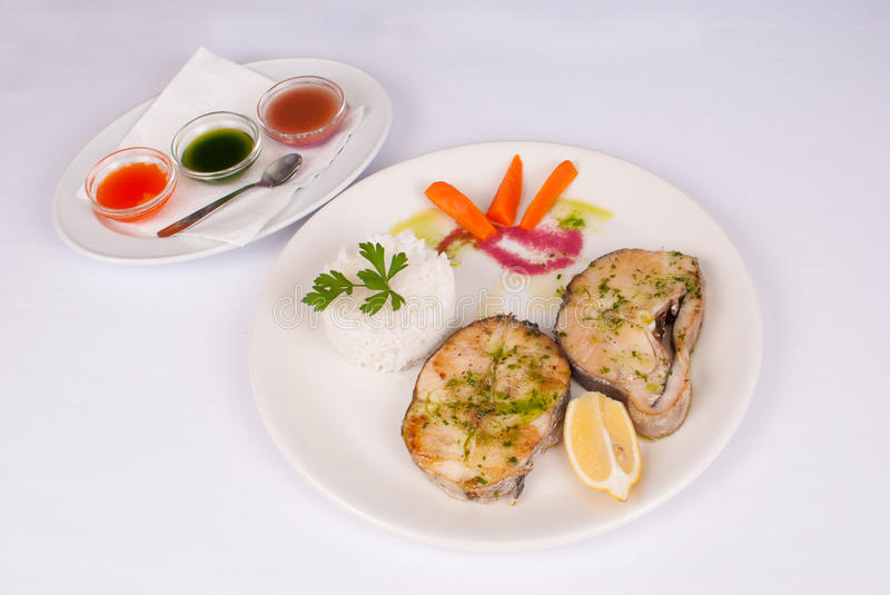 Hake with dips royalty free stock photography