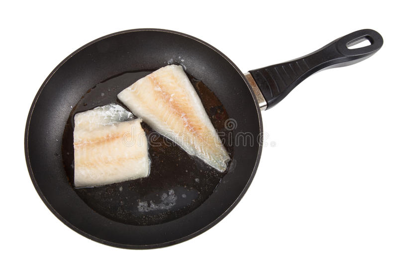 Hake fillets in the pan. Isolated on white background royalty free stock photos