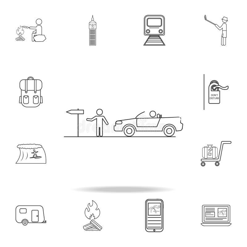 Hake-fotvandra linjen symbol Uppsättning av turism- och fritidsymboler Tecken översiktsmöblemangsamling, enkel tunn linje symbole vektor illustrationer