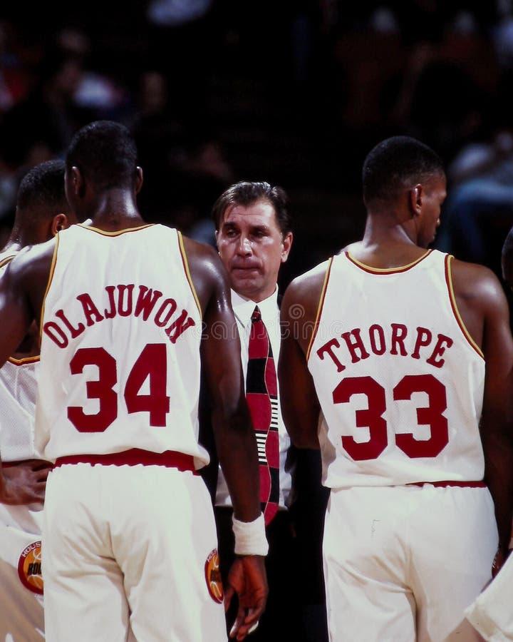 Hakeem Olajuwon, Rudy Tomjanovich et Otis Thorpe, Houston Rockets photographie stock