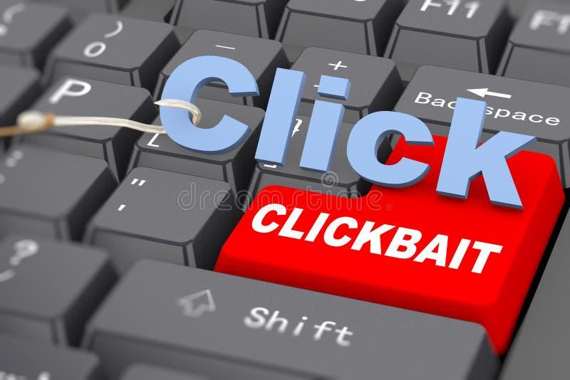 Haken 3d und Wort klicken an Tastatur - clickbait lizenzfreie abbildung