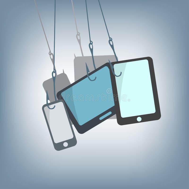 Haken mit Tablette, Mobile und Smartphone, denn dem Jagen üben Technologiekonzept, Illustration im flachen Design aus stock abbildung