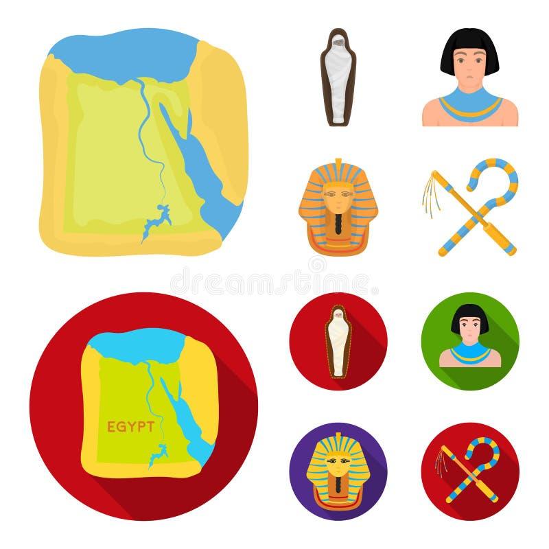 Haken und Dreschflegel, eine goldene Maske, ein Ägypter, eine Mama in einem Grab Alte gesetzte Sammlungsikonen Ägyptens in der Ka stock abbildung