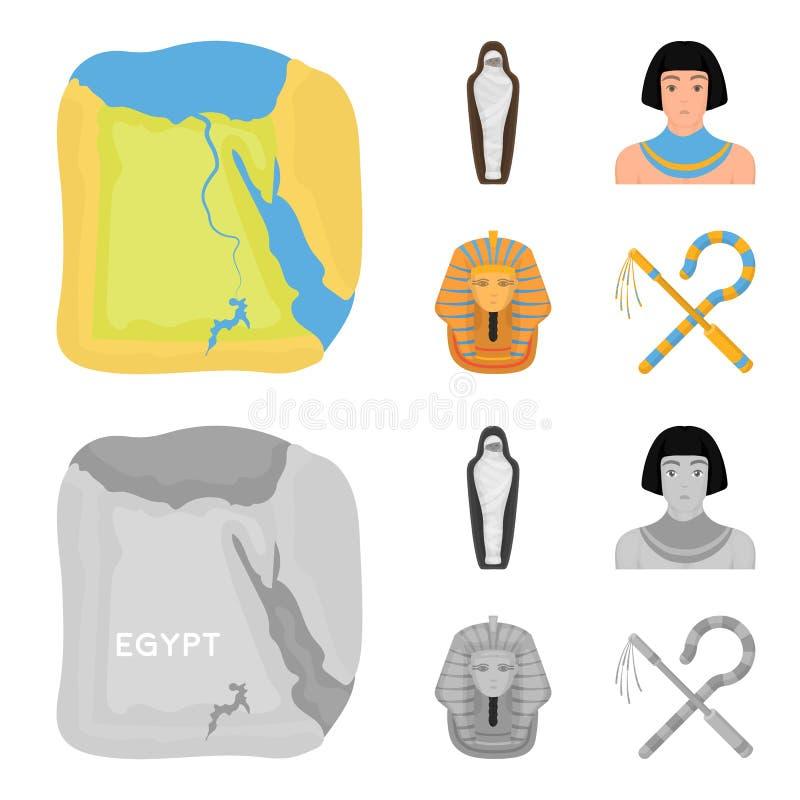 Haken und Dreschflegel, eine goldene Maske, ein Ägypter, eine Mama in einem Grab Alte gesetzte Sammlungsikonen Ägyptens in der Ka vektor abbildung