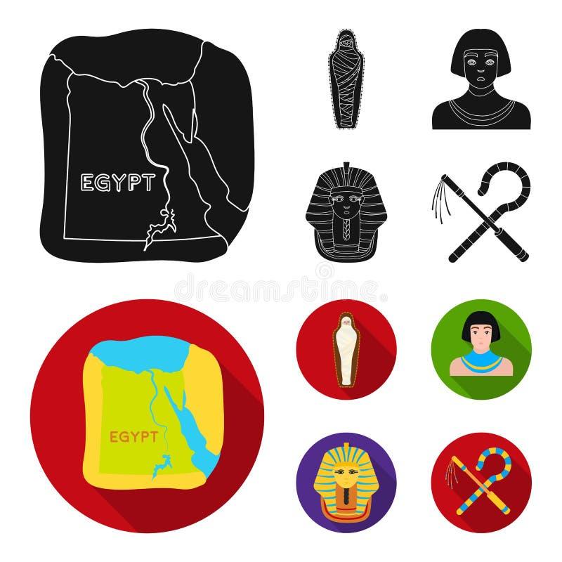 Haken und Dreschflegel, eine goldene Maske, ein Ägypter, eine Mama in einem Grab Alte gesetzte Sammlungsikonen Ägyptens in der sc lizenzfreie abbildung