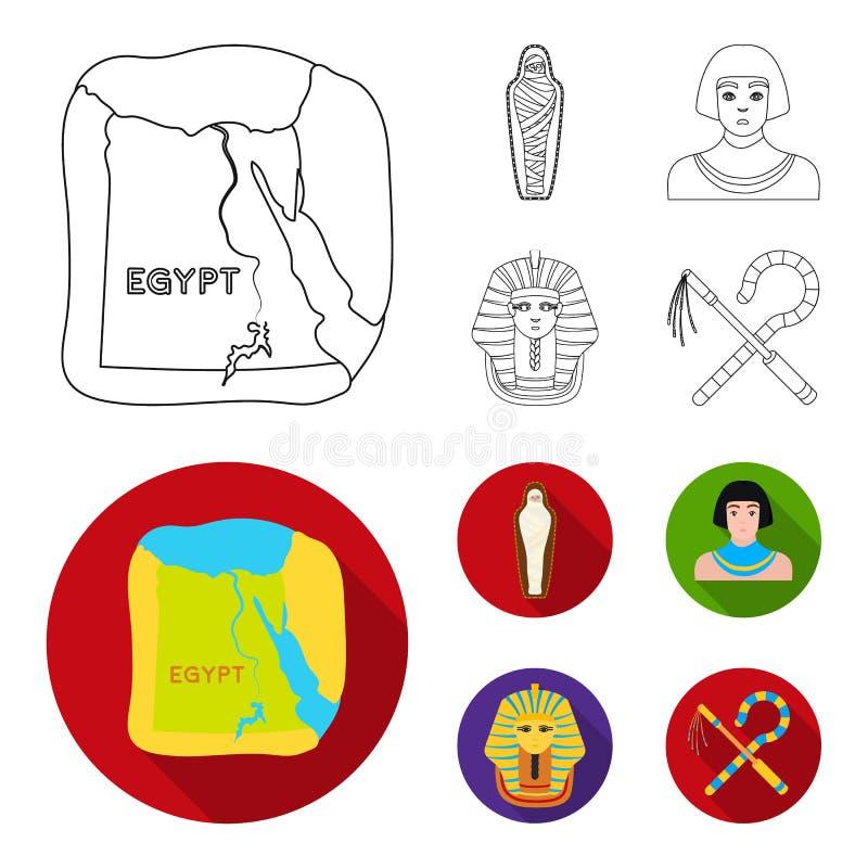 Haken und Dreschflegel, eine goldene Maske, ein Ägypter, eine Mama in einem Grab Alte gesetzte Sammlungsikonen Ägyptens im Entwur vektor abbildung