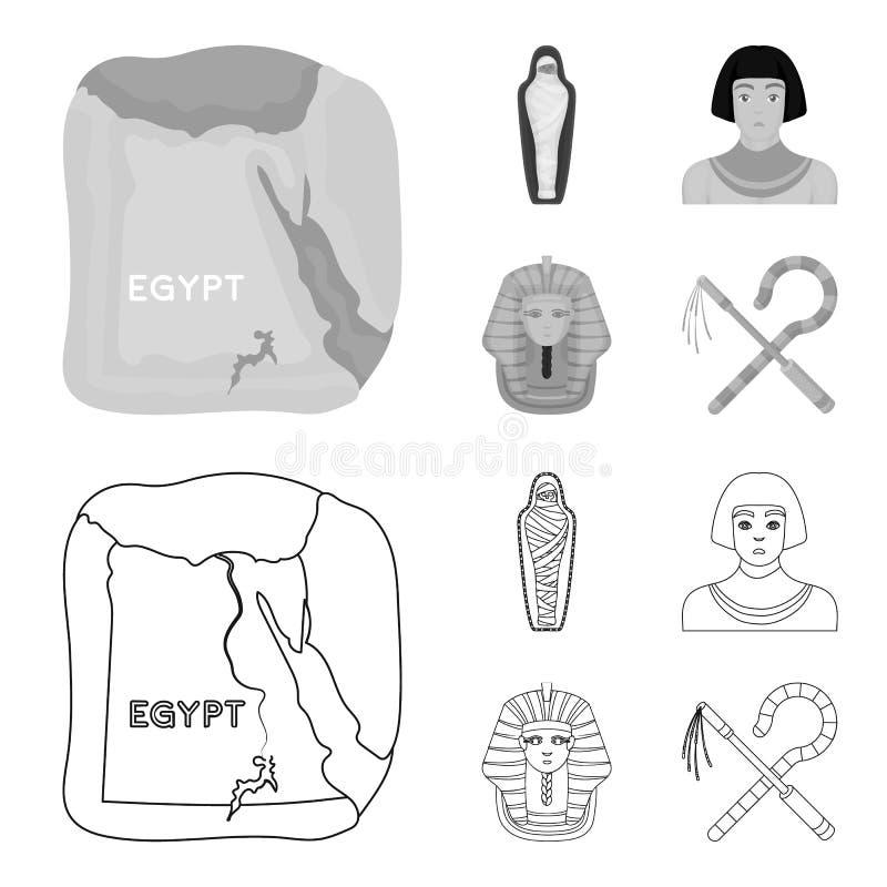 Haken und Dreschflegel, eine goldene Maske, ein Ägypter, eine Mama in einem Grab Alte gesetzte Sammlungsikonen Ägyptens im Entwur stock abbildung