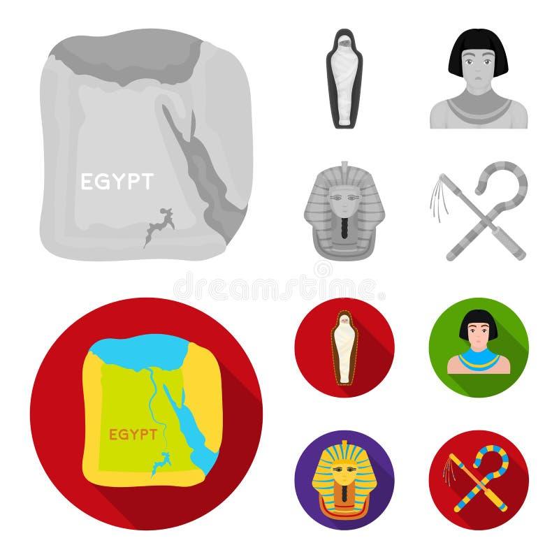 Haken und Dreschflegel, eine goldene Maske, ein Ägypter, eine Mama in einem Grab Alte gesetzte Sammlungsikonen Ägyptens im Monoch vektor abbildung