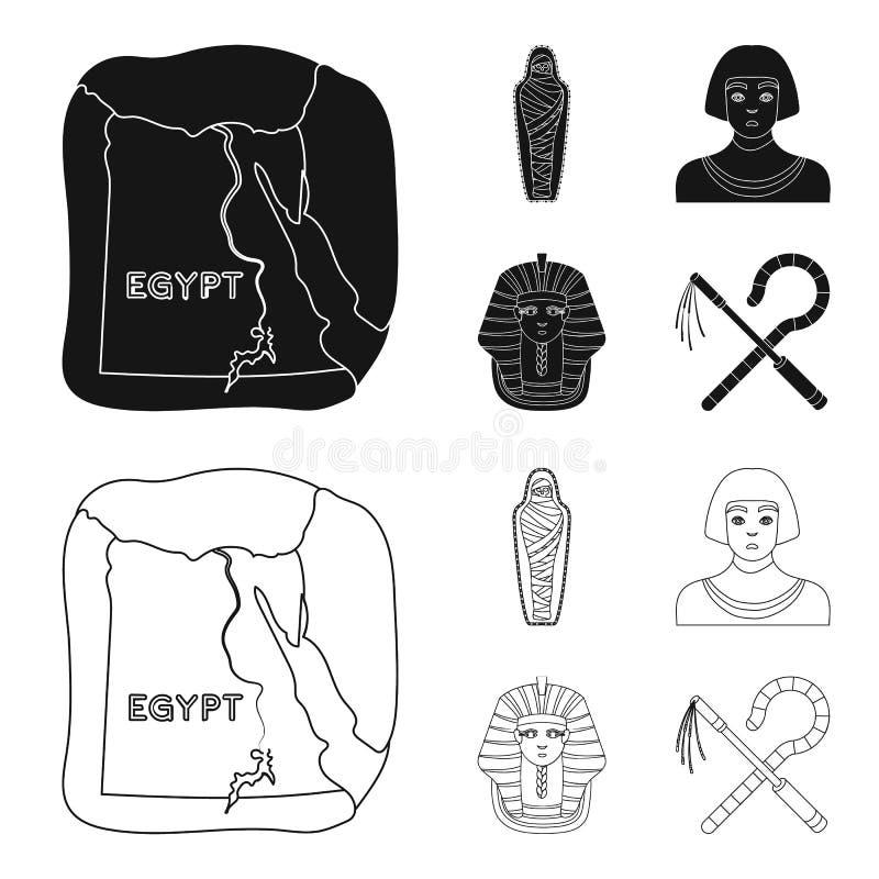 Haken und Dreschflegel, eine goldene Maske, ein Ägypter, eine Mama in einem Grab Alte gesetzte Sammlungsikonen Ägyptens im Schwar stock abbildung