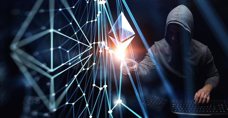 Haking into crypto world . Mixed media. Haker guy in hoodie and crypto currency concept on dark background. 3d rendering vector illustration