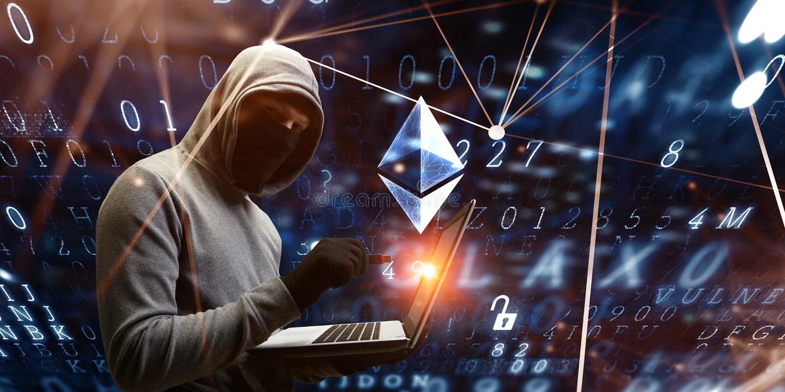 Haking into crypto world . Mixed media. Haker guy in hoodie and crypto currency concept on dark background. 3d rendering stock illustration