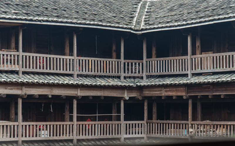 Hakka Tulou traditional Chinese housing in Fujian Province of Ch. The Fujian Tulou (or Earth Houses) are traditional housing in Hakka Villages in Fujian Province stock photos