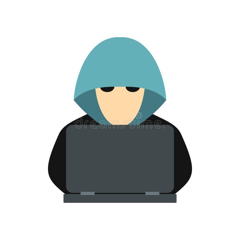Hakker achter een computerpictogram, vlakke stijl stock illustratie