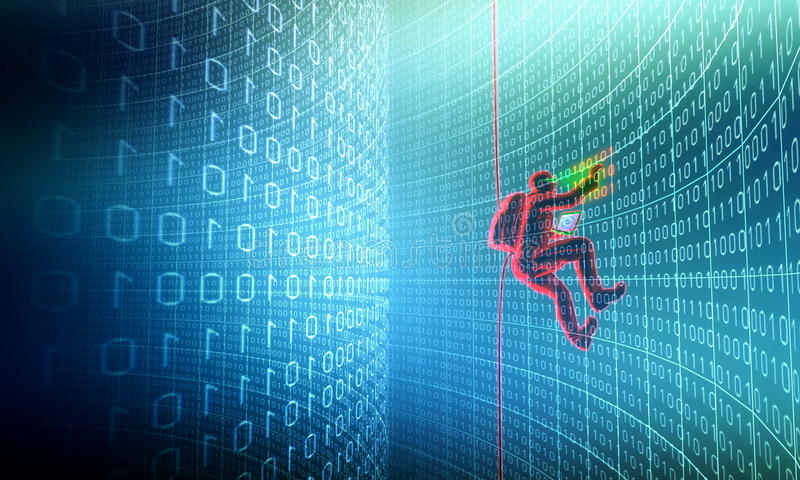 Hakker in actie royalty-vrije illustratie