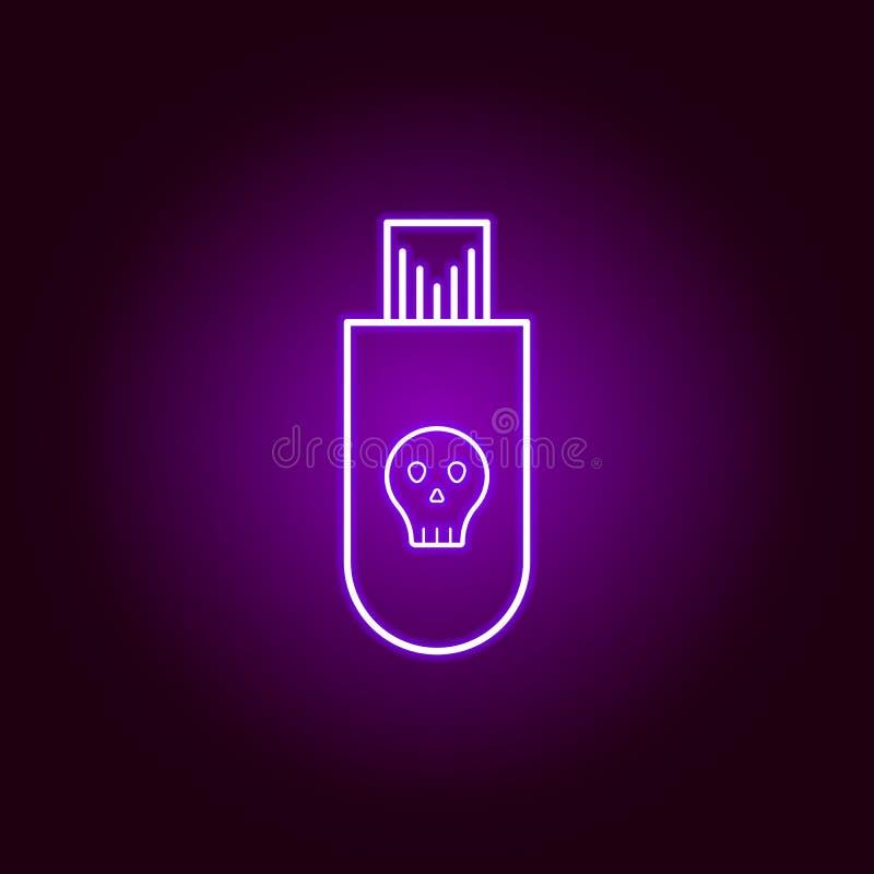 Hakker, besmet USB-flashstationpictogram in neonstijl Kan voor Web, embleem, mobiele toepassing, UI, UX worden gebruikt royalty-vrije illustratie