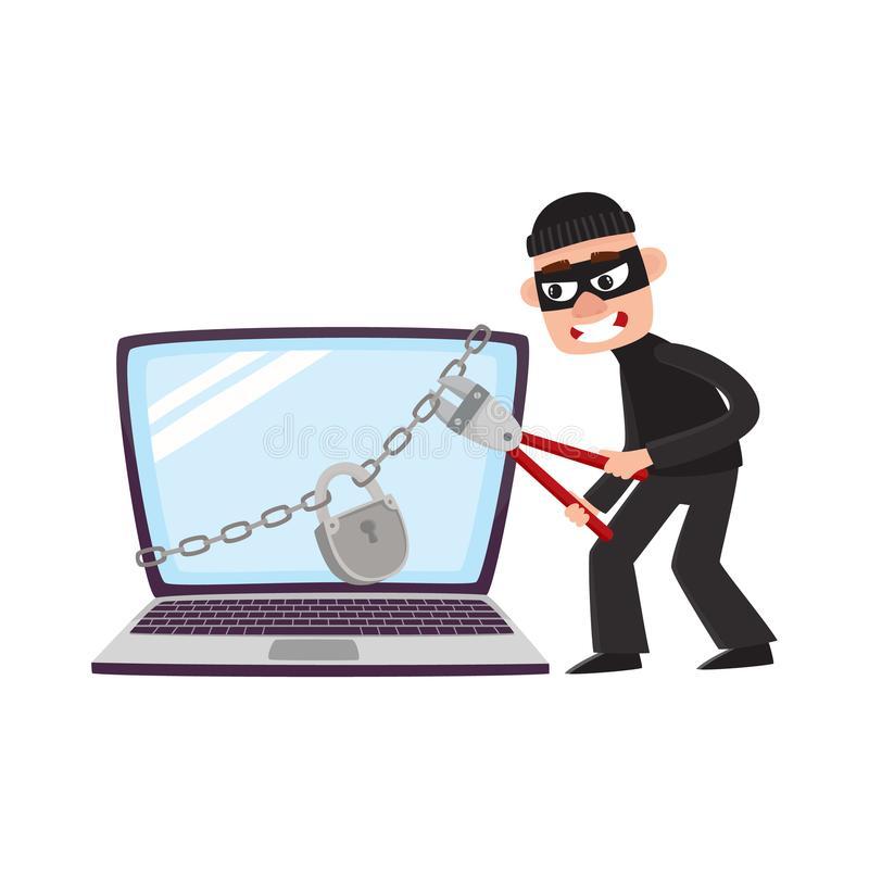 Hakker brekend slot protecton op reuzelaptop vector illustratie