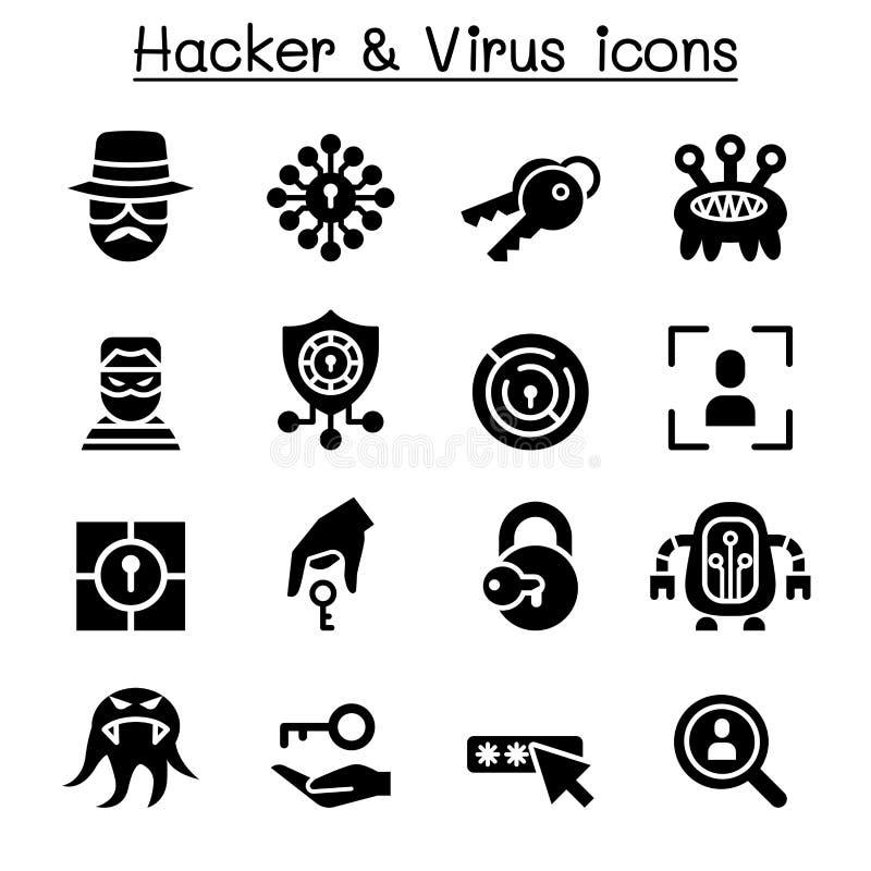 Hakker & Computer de reeks van het viruspictogram vector illustratie