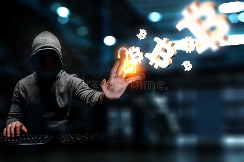 Hakker de jacht voor crypto munt royalty-vrije stock afbeelding