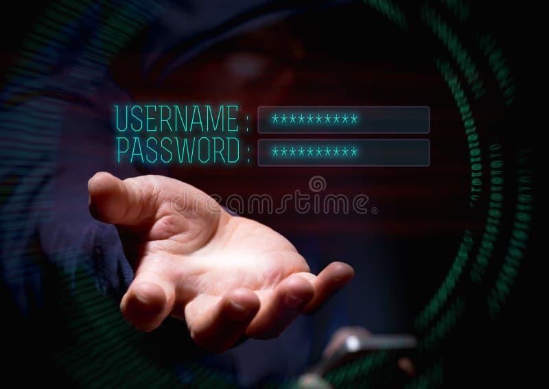 Hakker de met een kap van de cybermisdaad mobiele telefoon met behulp van en Internet die hackin royalty-vrije stock afbeeldingen