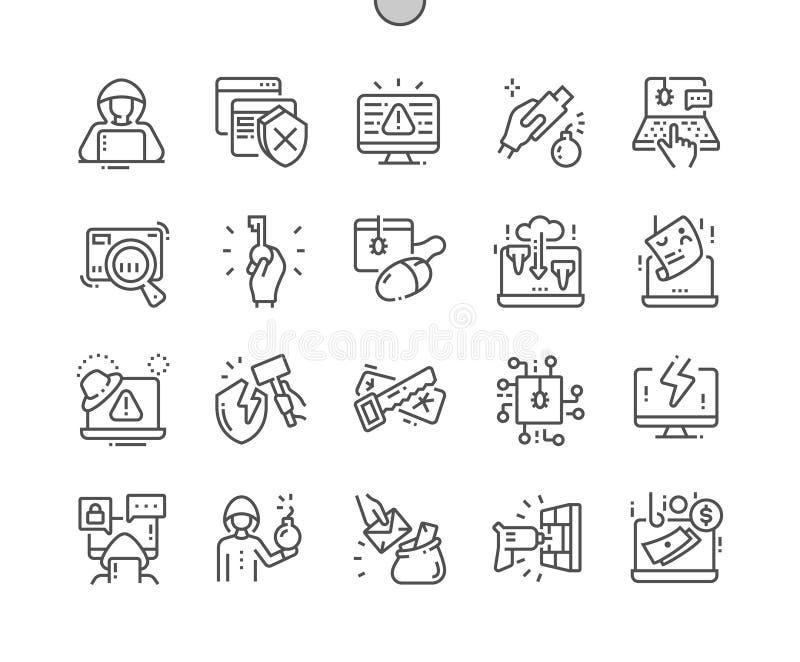 Hakker goed-Bewerkte Pictogrammen 30 van de Pixel Perfecte Vector Dunne Lijn 2x Net voor Webgrafiek en Apps vector illustratie