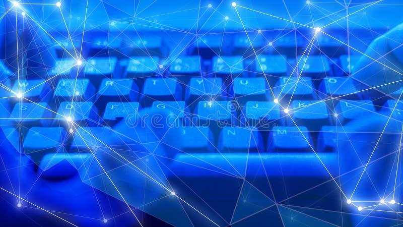Hakker het binnendringen in een beveiligd computersysteem het Beveiligingsbureau, digitale transformatie, toekomst cyber valt alg stock foto's