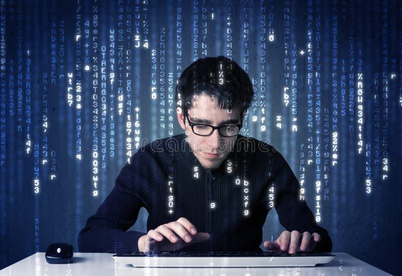 Hakker het decoderen informatie van futuristische netwerktechnologie royalty-vrije stock fotografie