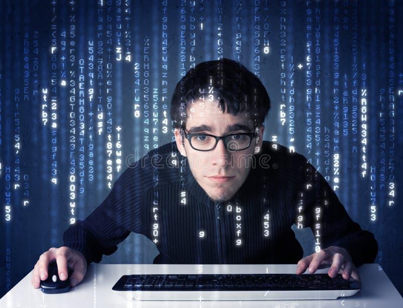 Hakker het decoderen informatie van futuristische netwerktechnologie royalty-vrije stock foto's