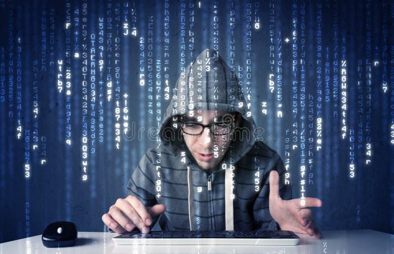 Hakker het decoderen informatie van futuristische netwerktechnologie stock foto