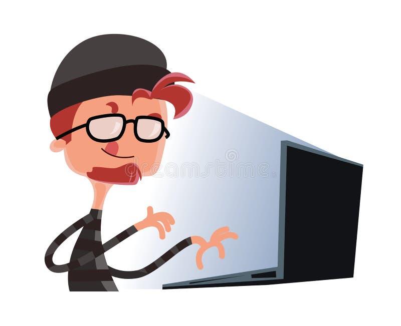 Hakker het typen op een het beeldverhaalkarakter van de computerillustratie royalty-vrije illustratie