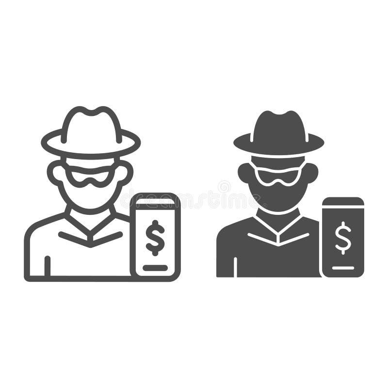 Hakker op smartphonelijn en glyph pictogram Mobiele telefoon met dief vectorillustratie die op wit wordt geïsoleerd Online rover royalty-vrije illustratie