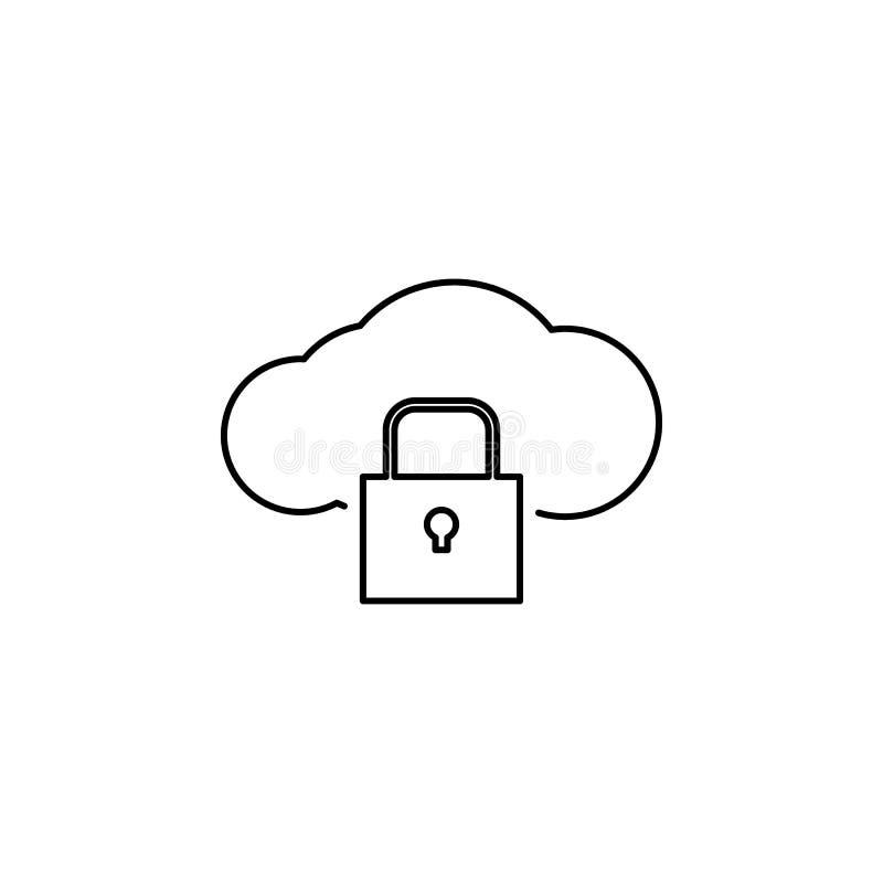 Hakker, wolkenpictogram op witte achtergrond Kan voor Web, embleem, mobiele toepassing, UI UX worden gebruikt royalty-vrije illustratie