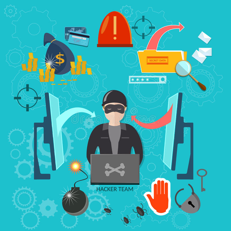 Hakkerconcept het binnendringen in een beveiligd computersysteem virussen van rekenings stealing wachtwoorden vector illustratie