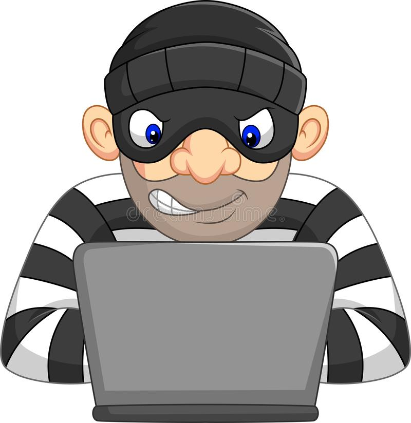 Hakkerdief die in masker persoonlijke informatie van computer stelen stock illustratie