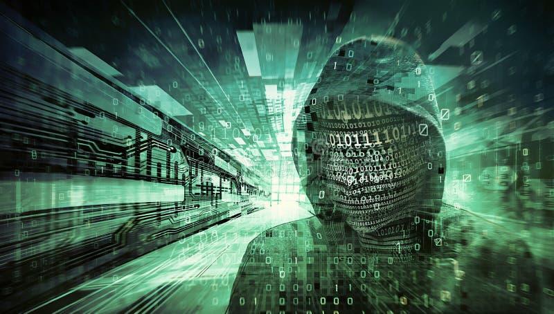 Hakkergezicht met aantallen wordt gemaakt dat royalty-vrije stock afbeelding