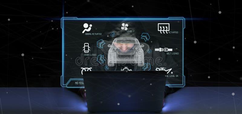 Hakkermens die het smartcar concept 3d teruggeven houden royalty-vrije stock foto's